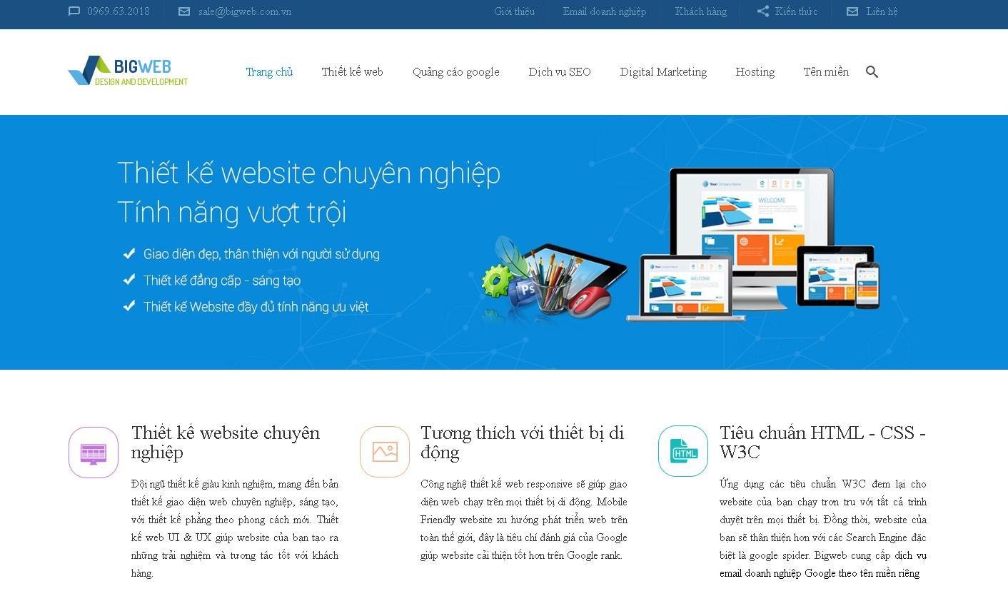 Công ty thiết kế web chuyên nghiệp Bigweb